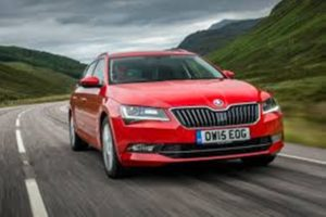 image of red skoda Superb executive taxi